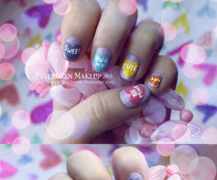 Candy Heart Nails Products Used: - Bottom... - PsychoRen Makeup | via Tumblr