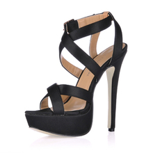 Graceful Leatherette Women's Stiletto Heel Platform Buckled Sandals