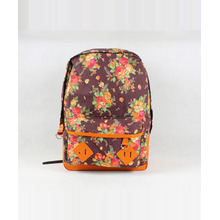 Elegant Women's Canvas Casual Zipper Floral Print Backpack - Coffee