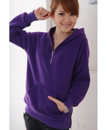 Zippered Loose Pocket(s) Women's Cotton Blends Hoodie