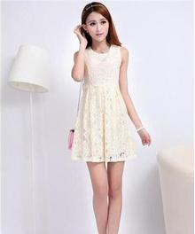 Sweet Lace A-line Above Knee Women's Round Dress