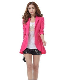 Elegant Viscose Women's Long Sleeves Turndown Collar Blazer - Fuchsia