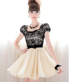 Square-cut collar Short Sleeves Polyester Vintage Dress For Women