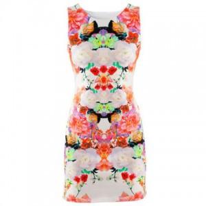 Sweet Women Floral Printing Sleeveless Hip Vest Sexy Mini Dress