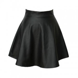 Vintage High Waist Flouncing Solid Color PU Leather Women's Skirt