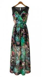 Bohemian Style Round Collar Sleeveless Floral Print Splicing Women's Dress