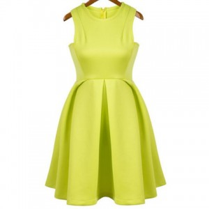 Simple Style Round Collar Solid Color Flouncing Women's Sundress
