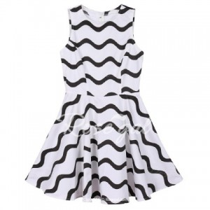 Simple Style Round Neck Sleeveless Color Block Stripe Women's Dress