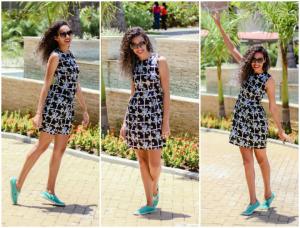 Vestido preto floral+tênis